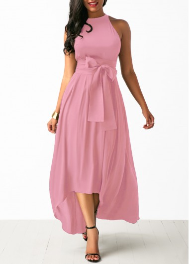 Light Pink Sleeveless High Neck Asymmetric Hem Maxi Dress High Low Pink Belted Dress and Cardigan - XL