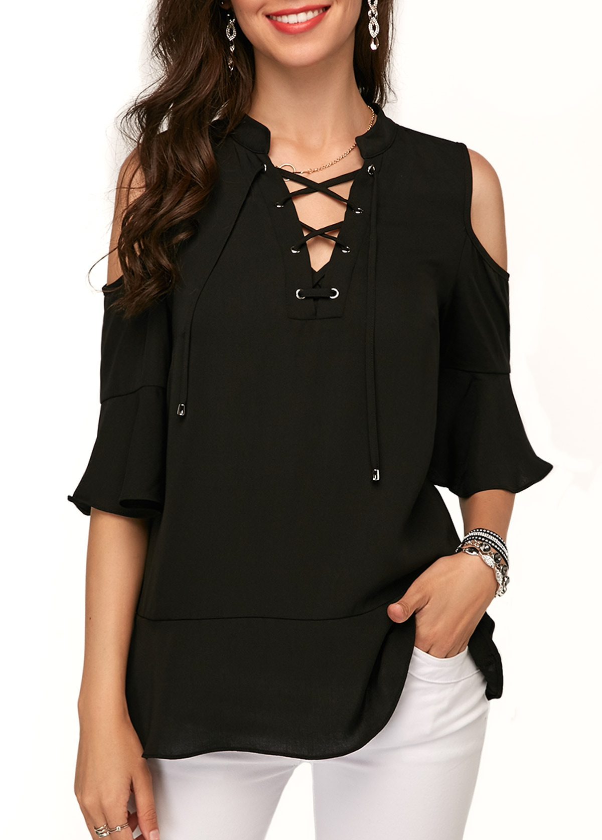 Black Cold Shoulder Lace Up Blouse