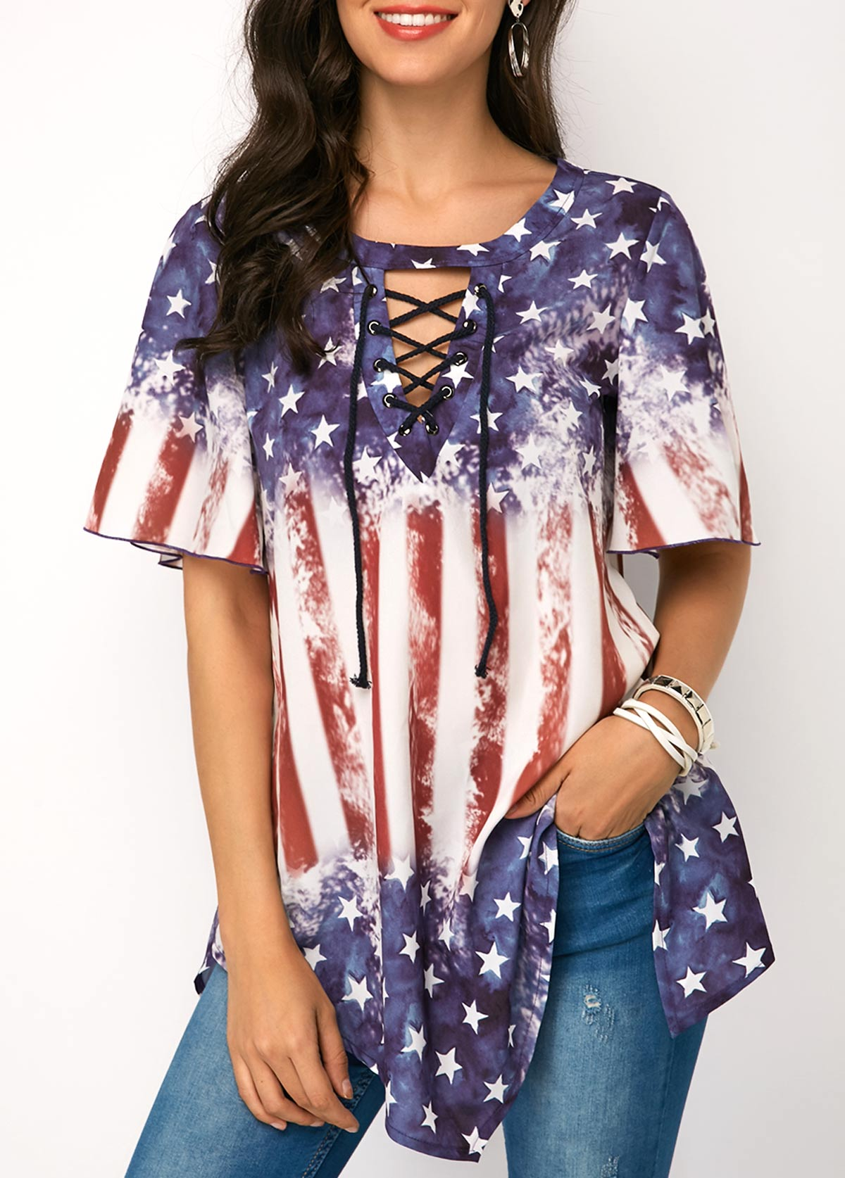 Star and Stripe Print Asymmetric Hem Blouse