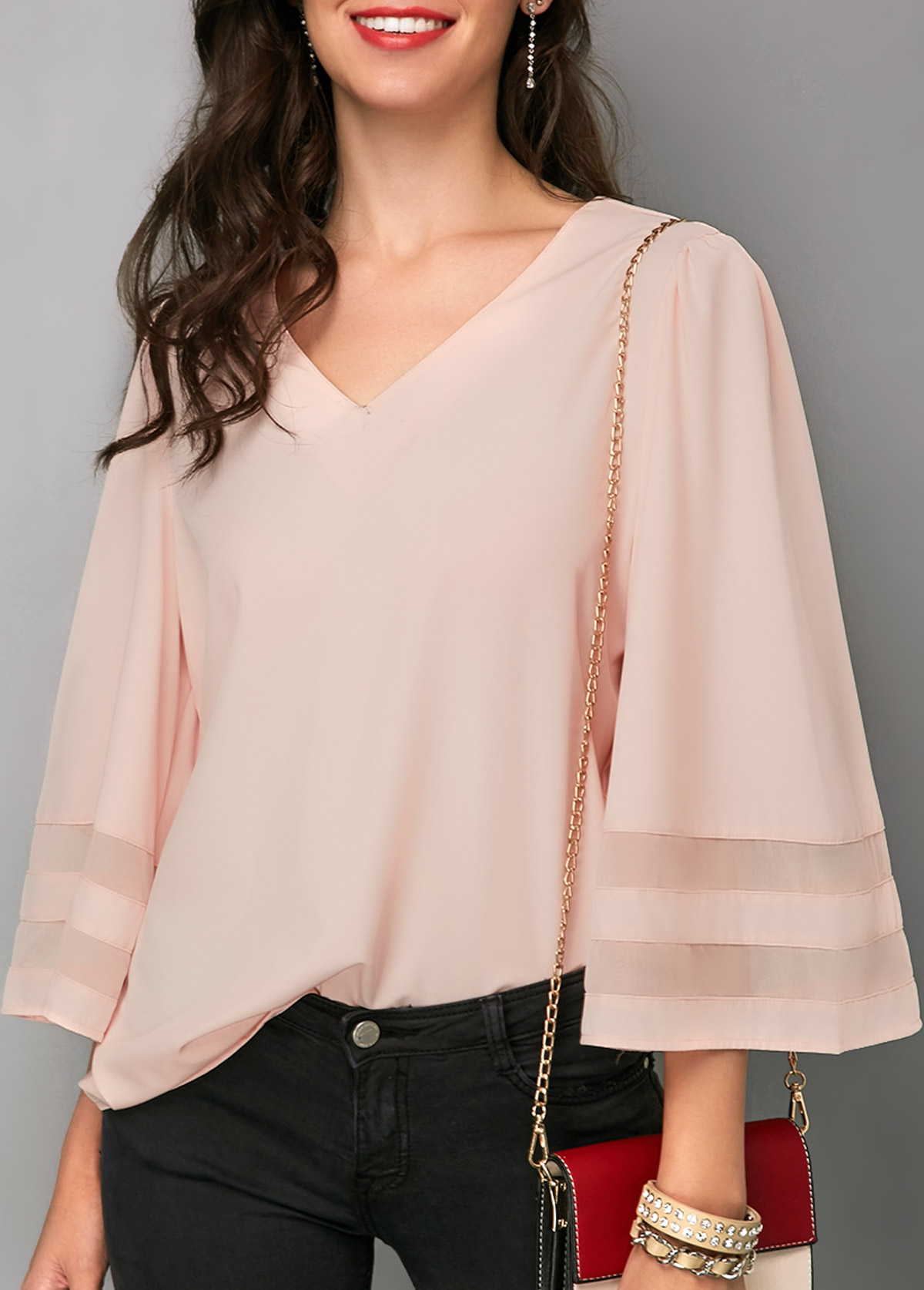 Three Quarter Sleeve V Neck Patchwork Blouse