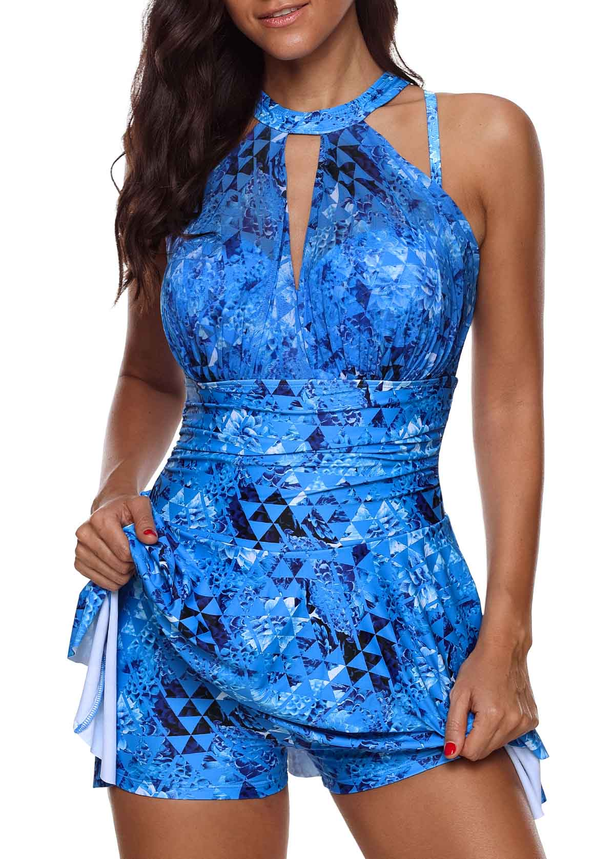 Printed Keyhole Neckline Swimdress and Shorts