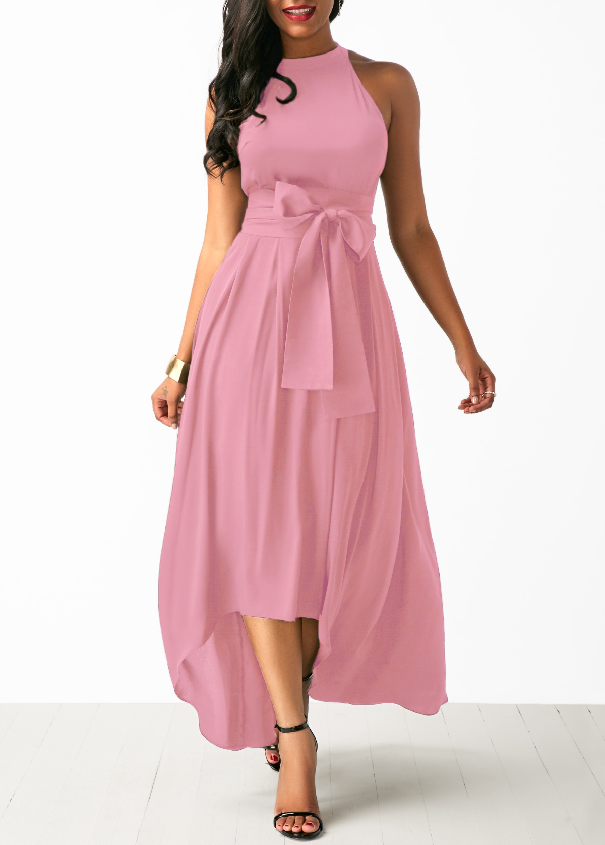 High Low Pink Belted Dress and Cardigan
