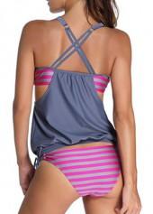 aa4a9b41a6 Open Back Printed Grey and Rose Tankini Swimwear | modlily.com - USD ...