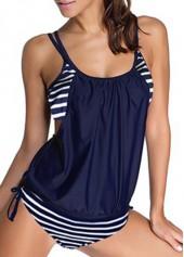 wholesale Navy Blue Stripe Print Top and Panty Swimwear