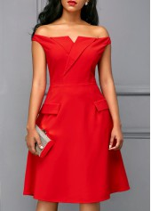 Off-the-Shoulder-Red-Short-Sleeve-Dress