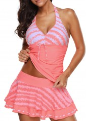 Halter Neck Printed Swimwear Top and Pantskirt