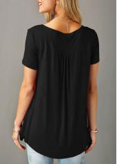 wholesale Button Detail Short Sleeve Black Blouse