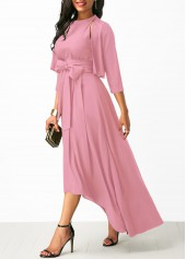 wholesale High Low Pink Belted Dress and Cardigan