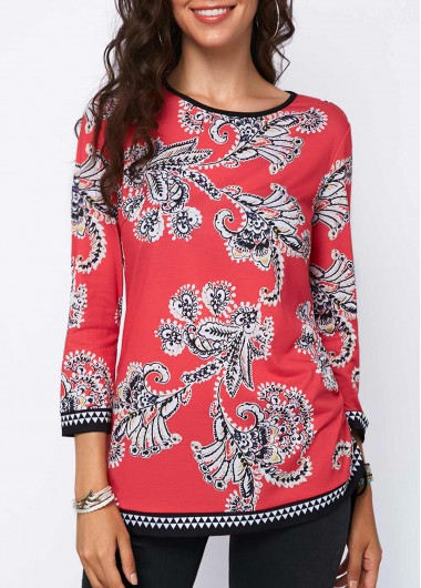 Three Quarter Sleeve Printed Tie Side Blouse
