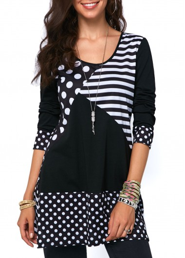 Polka Dot and Stripe Print T Shirt