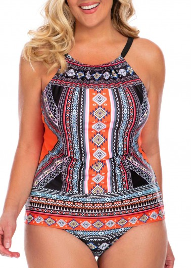 Plus Size Printed Open Back Tankini Set