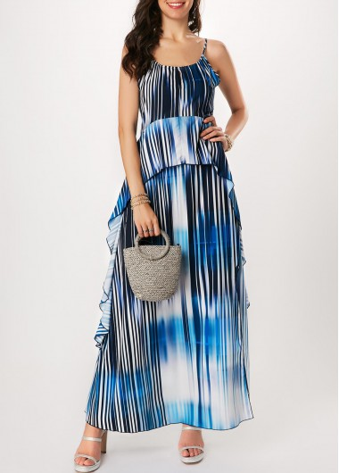 Side Slit Spaghetti Strap Printed Maxi Dress