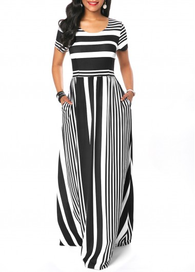Stripe Print Round Neck Short Sleeve Maxi Dress