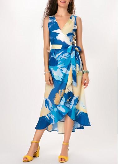 V Neck Printed Ruffle Detail Midi Dress