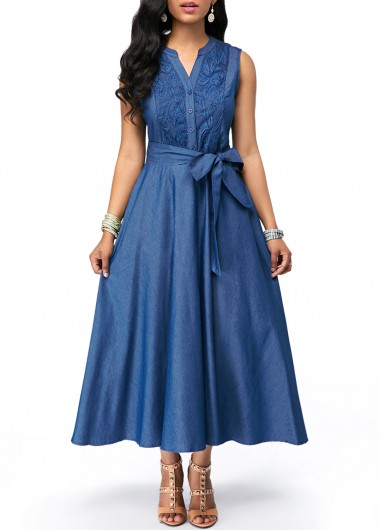 Split Neck Lace Panel Tie Waist Denim Dress
