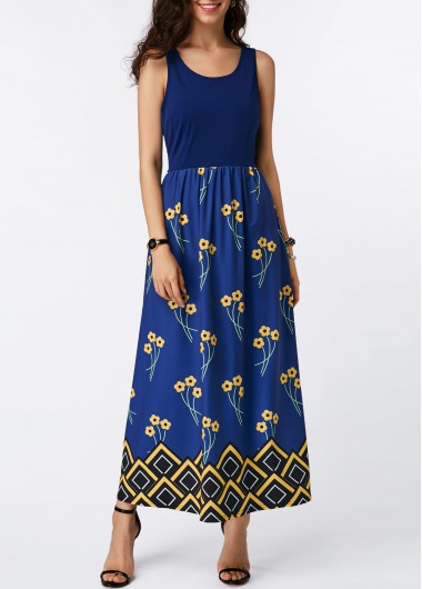 Round Neck Printed High Waist Maxi Dress