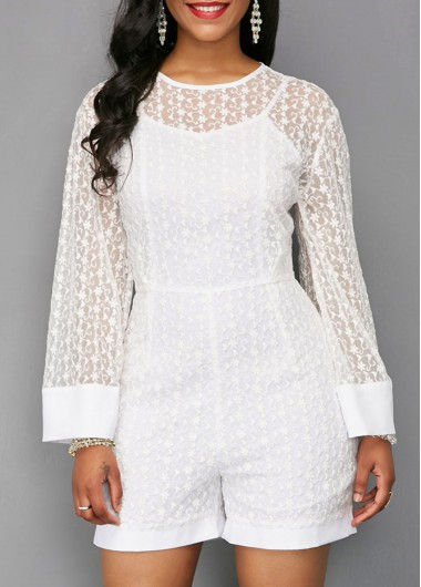 Long Sleeve Mesh Panel White Romper