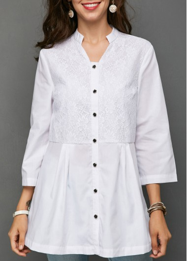 Button Front Lace Panel White Blouse