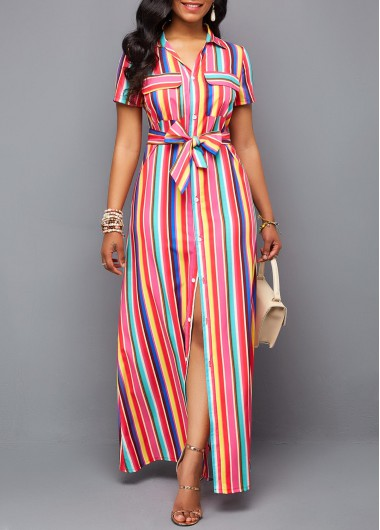 Turndown Collar Button Up Belted Maxi Dress