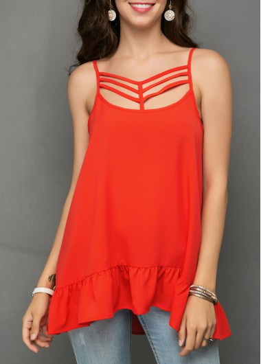 Caged Front Spaghetti Strap Orange Red Blouse