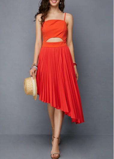 Spaghetti Strap Cutout Front Orange Red Dress