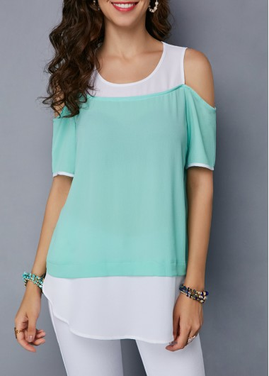 Cold Shoulder Mint Green Curved Blouse - M