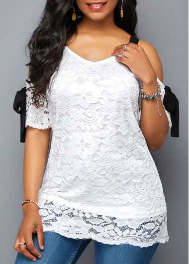 Cold Shoulder Half Sleeve White Lace Blouse