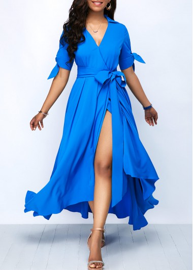 Tie Sleeve Belted Front Slit Maxi Dress