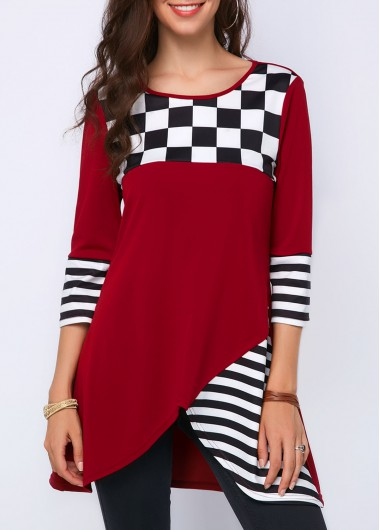 Asymmetric Hem Round Neck Printed Blouse