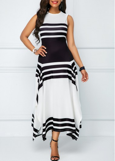 Asymmetric Hem Sleeveless Stripe Print Midi Dress