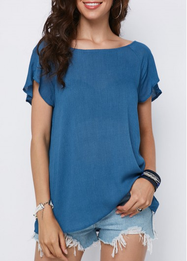 Criss Cross Back Short Sleeve Blue Blouse