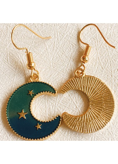 Moon Shape Star Detail Gold Metal Earrings