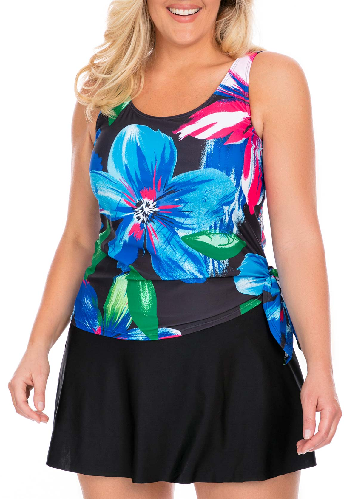 Plus Size Printed Tankini Top and Pantskirt