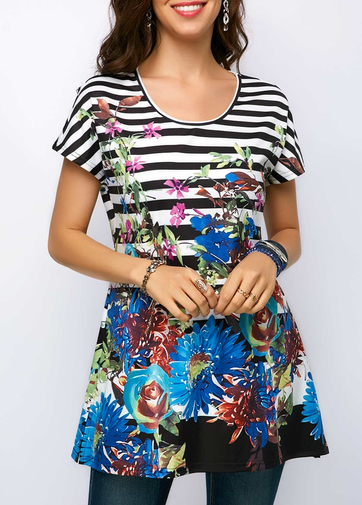 Flower Print Round Neck Short Sleeve Blouse