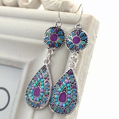 Colorful Beaded Drop Shape Dangle Earrings