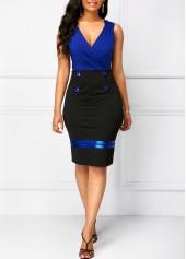 Button-Detail-Color-Block-V-Neck-Sheath-Dress