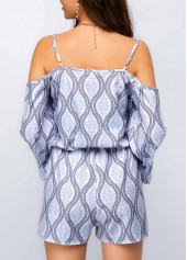 wholesale Strappy Cold Shoulder Tie Front Printed Romper