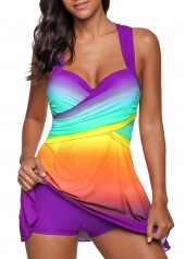 wholesale Printed Wide Strap Purple Swimdress and Shorts