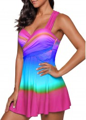 wholesale Printed Wrap Front Wide Strap Swimdress and Shorts