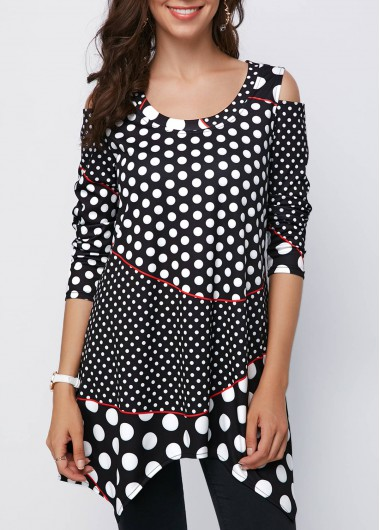 Cold Shoulder Polka Dot Asymmetric Hem Black Blouse - M