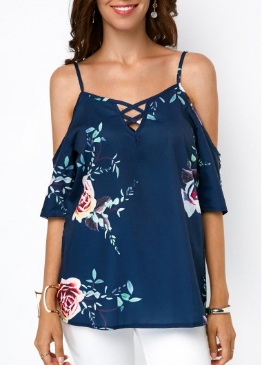 Strappy Cold Shoulder Printed Navy Blouse - L