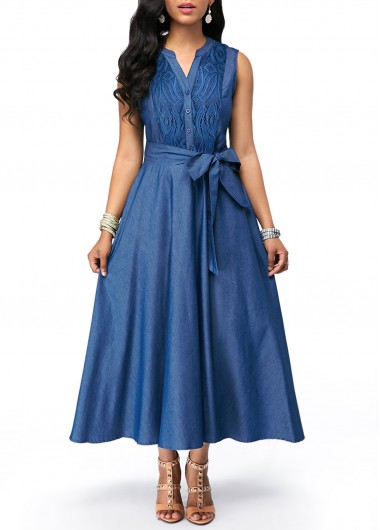 Split Neck Lace Panel Tie Waist Denim Dress