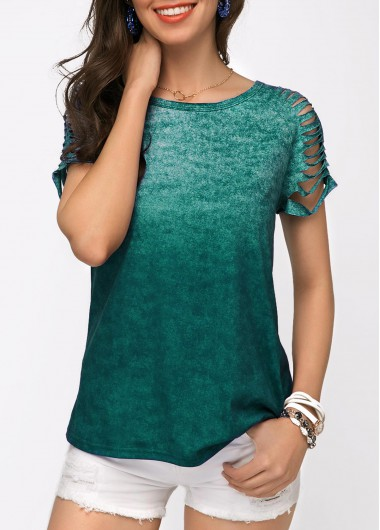 Cutout Green Short Sleeve Round Neck T Shirt