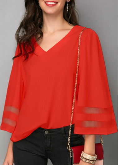 Flare Sleeve V Neck Orange Red Blouse