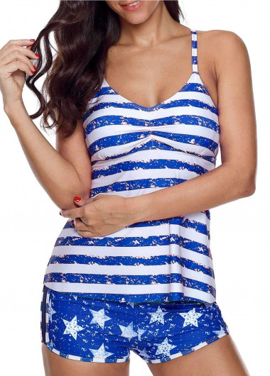Cutout Striped Tankini Top and Star Print Shorts - XXL