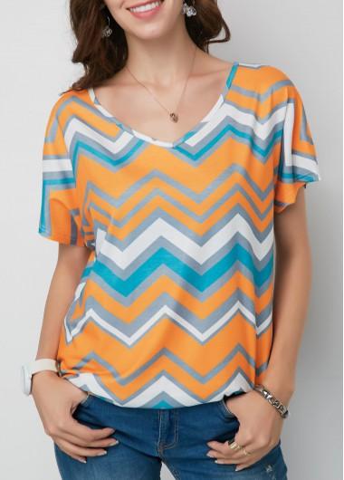 Chevron Print V Neck Short Sleeve T Shirt - L