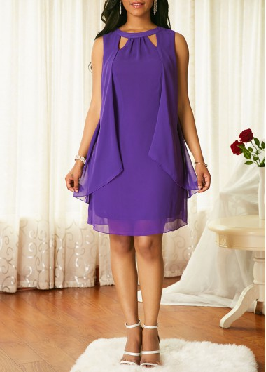 Purple Cutout Neck Sleeveless Chiffon Dress