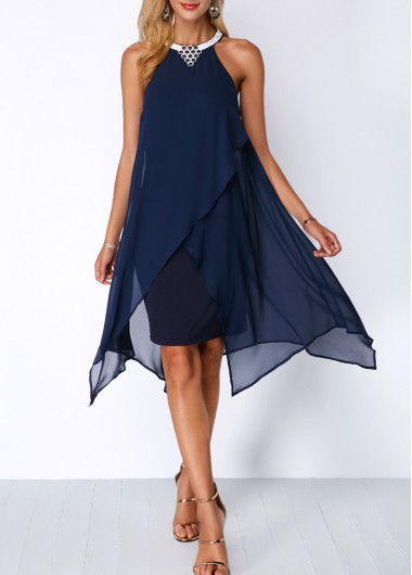 Image of Embellished Neck Asymmetric Hem Chiffon Overlay Dress