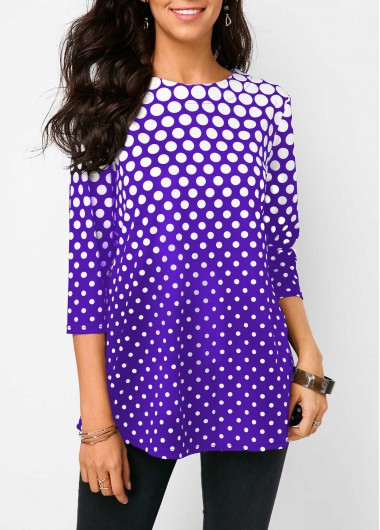 Purple Three Quarter Sleeve Polka Dot Blouse - L
