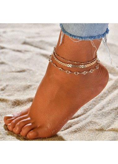 3pcs Gold Metal Chain Anklets for Lady